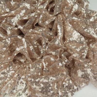 Champagne Pink Sequinned Fabric