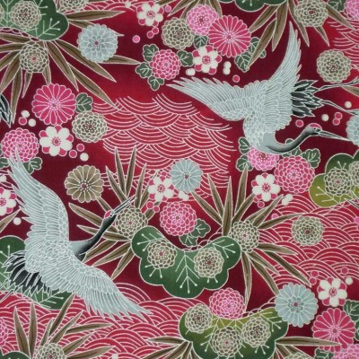 Silver & Red Cranes - Sample