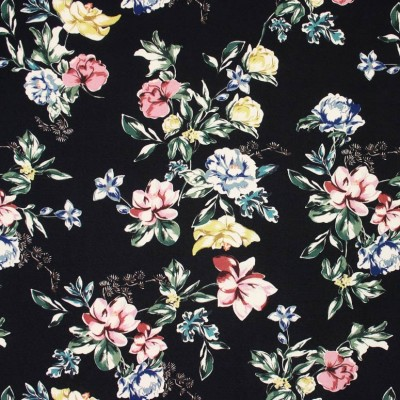 Black Floral Viscose Crepe - Sample