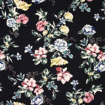 Black Floral Viscose Crepe