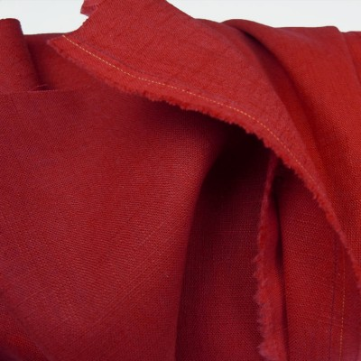 Rich Red Enzyme Washed Linen - Sample