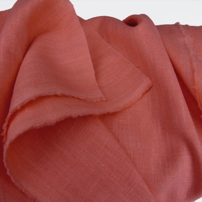 Coral Enzyme Washed Linen -  Sample
