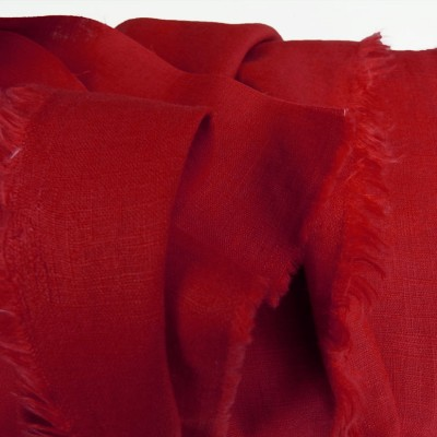 Vibrant Red Enzyme Washed Linen