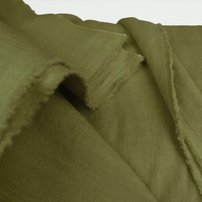 Chartreuse Enzyme Washed Linen - Sample
