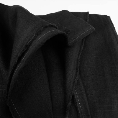 Black Enzyme Washed Linen - Sample