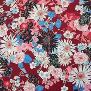Burgundy Oriental Floral Lawn