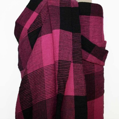Jewel Pink Crinkle Check Linen